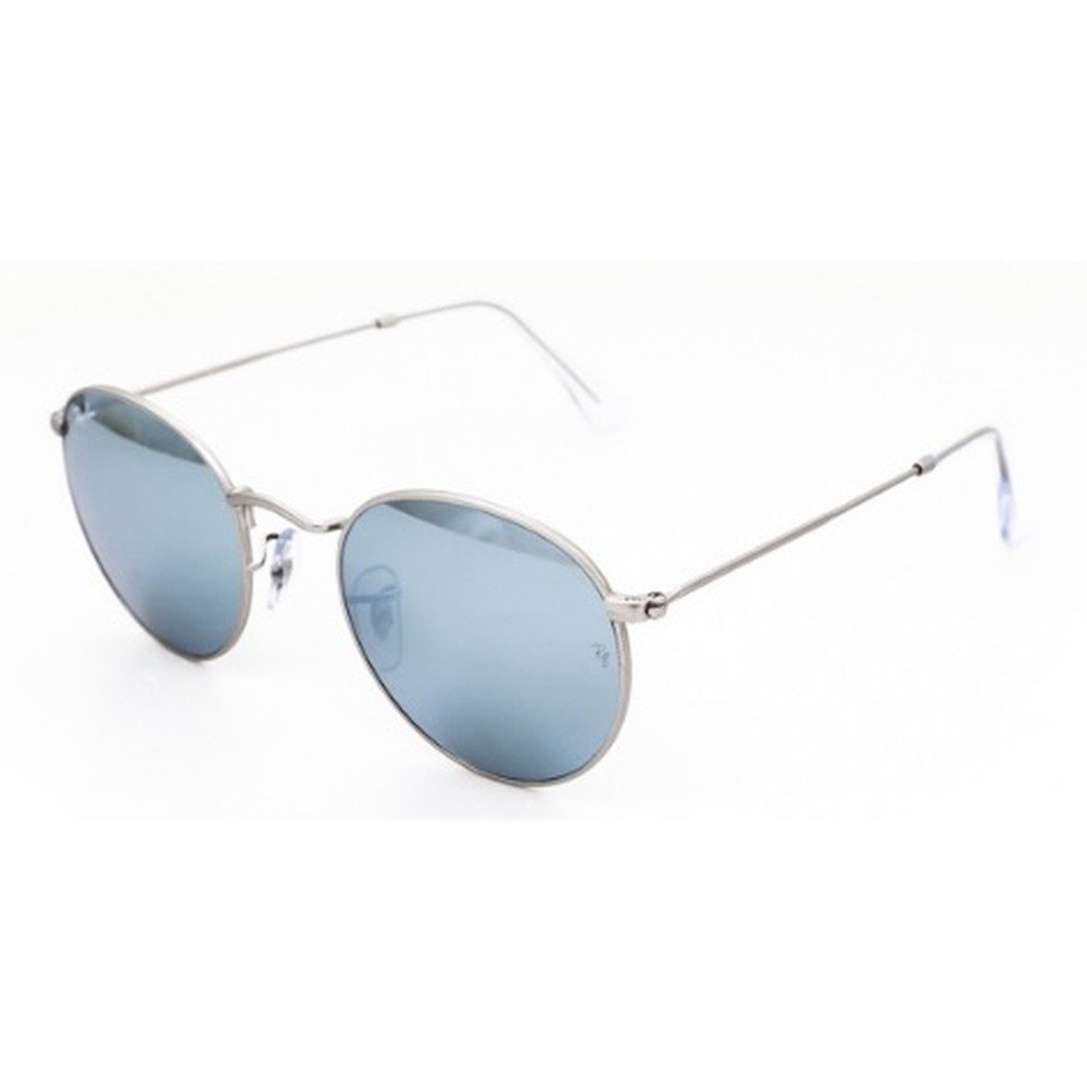 Ray-Ban RB3447 019/30 53 Round - Matte Silver/Light Blue Mirror Silver,Ray-Ban