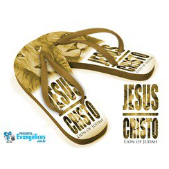 Chinelo Marrom - Jesus Cristo Lion of Judah