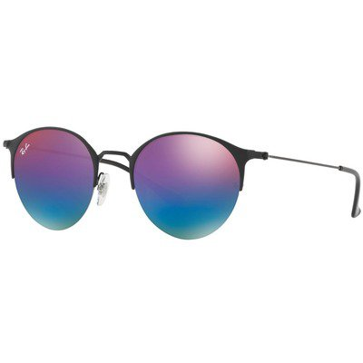 Ray-Ban RB3578 186/B1 50 Round - Black/Blue-Violet Gradient Mirror,Ray-Ban