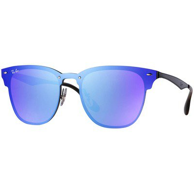 Ray-Ban Blaze Clubmaster RB3576N 153/7V 47 - Black/Dark Violet-Blue Mirror,Ray-Ban
