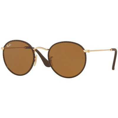 Ray-Ban Round Craft RB3475Q 9041 50 - Brown-Gold/Brown Classic B-15,Ray-Ban