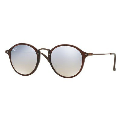 Ray-Ban RB2447N 62569U 49 Round - Shiny Transparent Brown/Grey Flash Mirror,Ray-Ban