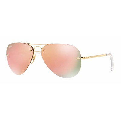 Ray-Ban RB3449 001/2Y 59 Aviator - Gold/Pink Cooper Mirror,Ray-Ban