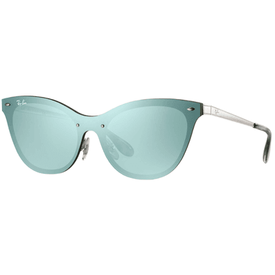 Ray-Ban Blaze Cat Eye RB3580N 042/30 43 - Silver/Dark Green-Silver Mirror,Ray-Ban