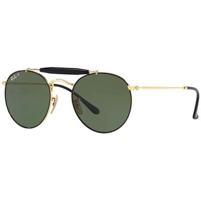 Ray-Ban RB3747 900058 50 Round - Black Gold/Green Classic G-15,Ray-Ban